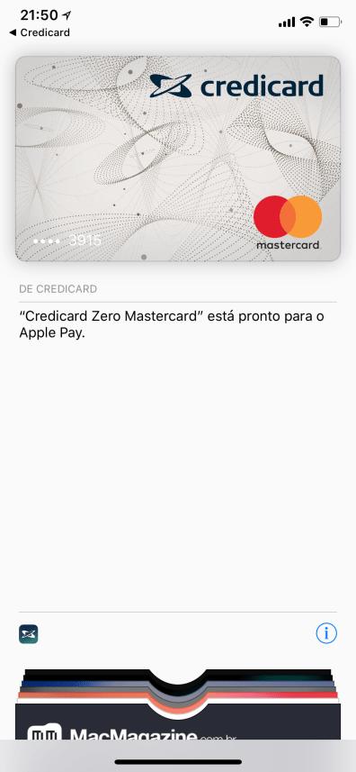 Adicionando o Credicard ZERO no Wallet