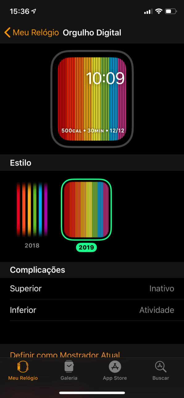 Novo mostrador de Orgulho no watchOS 5.2.1