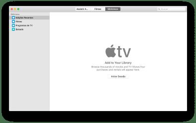 Aplicativo Apple TV no macOS Catalina