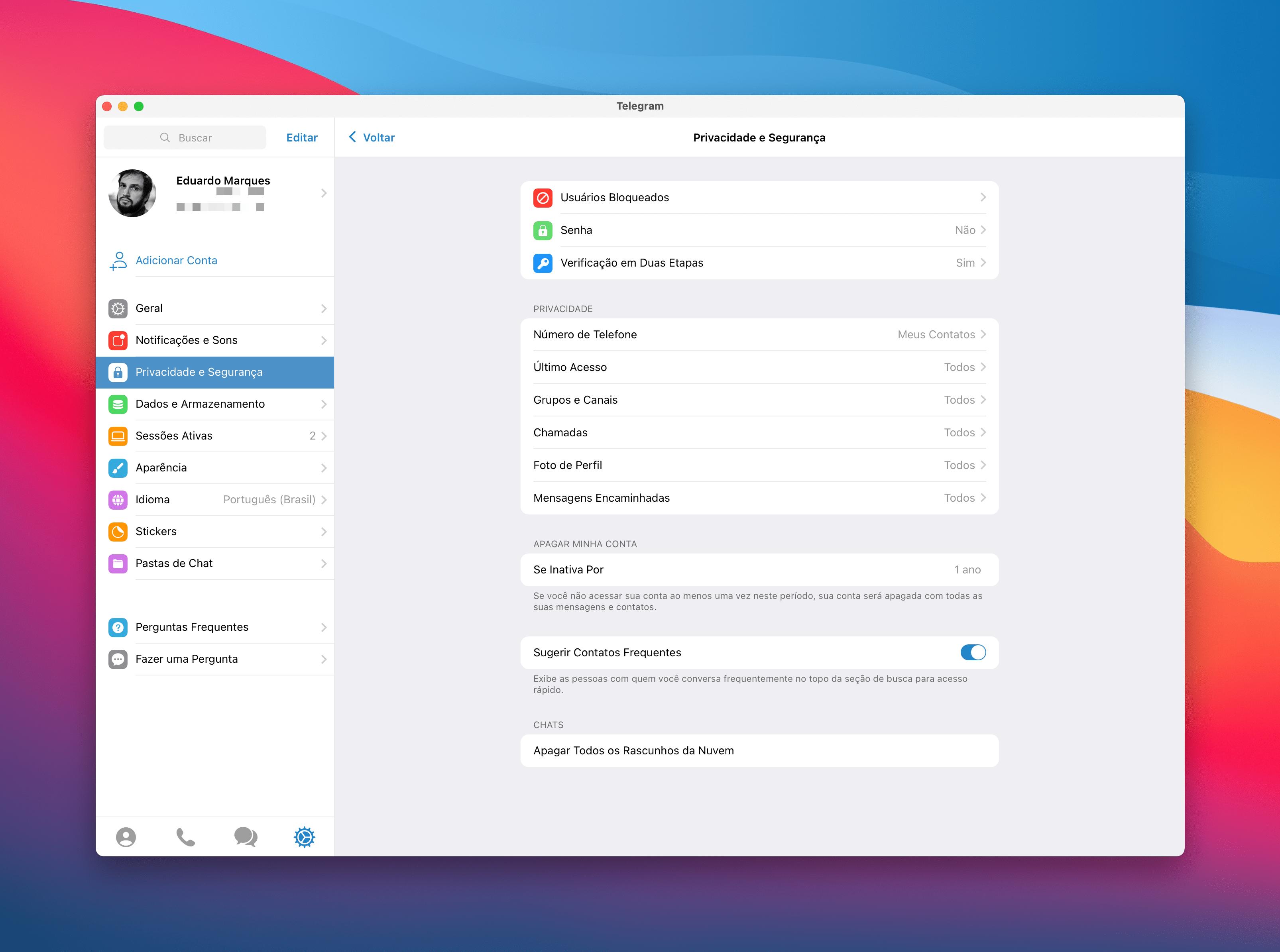 Apagando o Telegram automaticamente