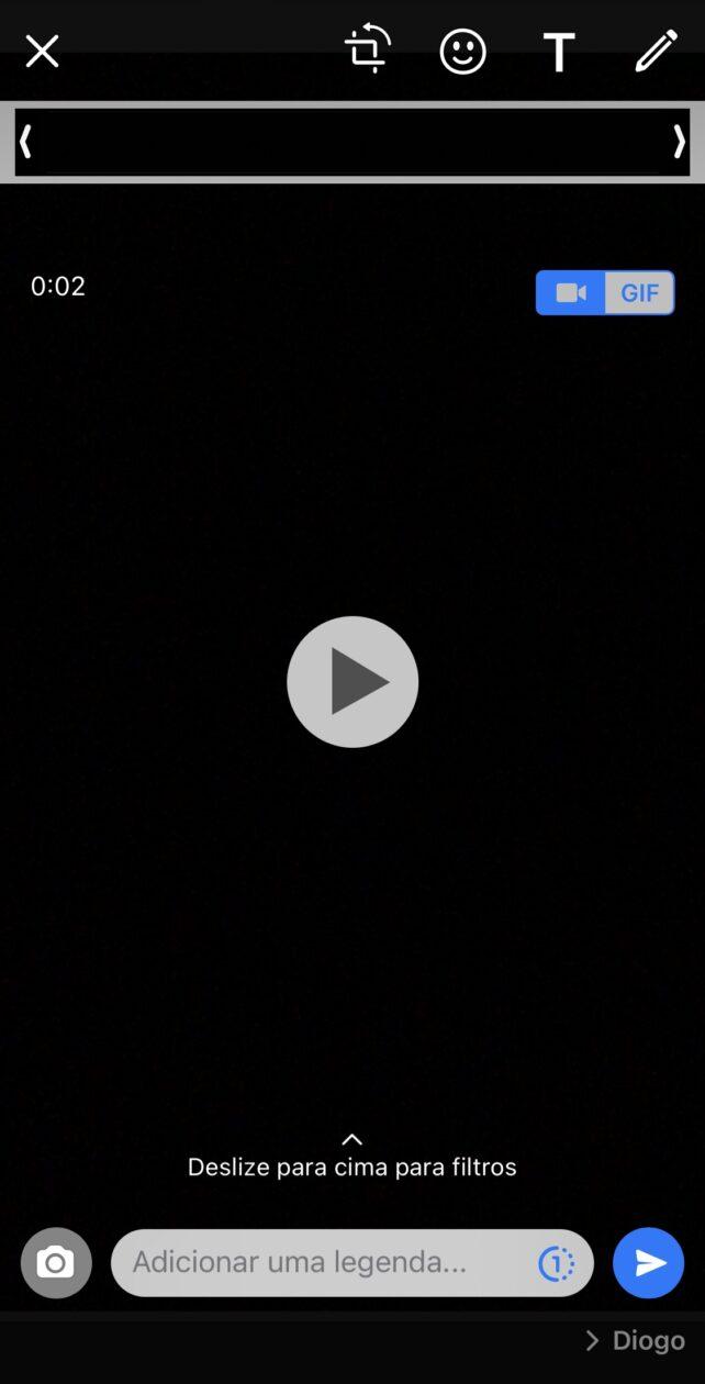 Interface de envio de vídeos atual WhatsApp