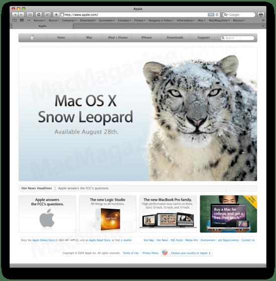 Mac OS X 10.6 Snow Leopard no Apple.com