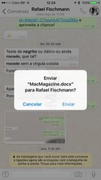 Compartilhando um arquivo do Word no WhatsApp Messenger
