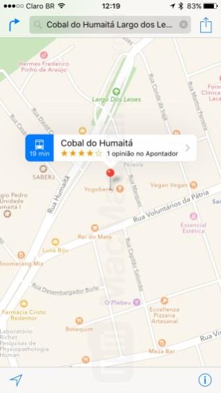 Informações de transporte público nos mapas da Apple