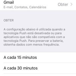 Tela de configuração do email no iOS 9