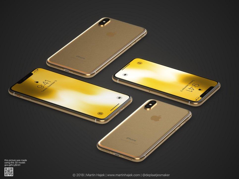 Conceito de iPhone X Plus dourado