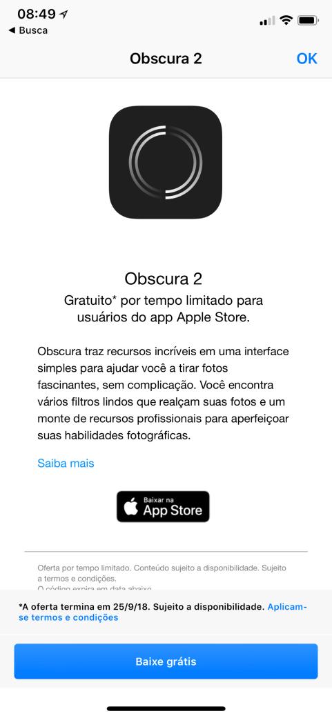 Obscura no Apple Store