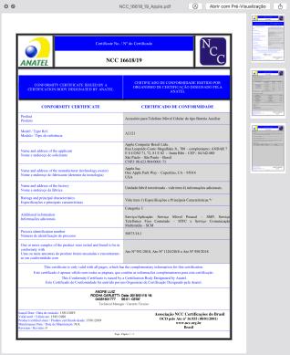 Certificado de homologação da Smart Battery Case do iPhone XR