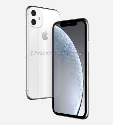Render do sucessor do iPhone XR (branco)