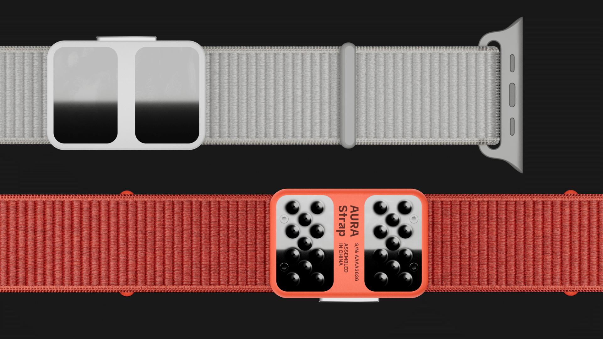 Modelo vermelho e cinza da AURA Strap