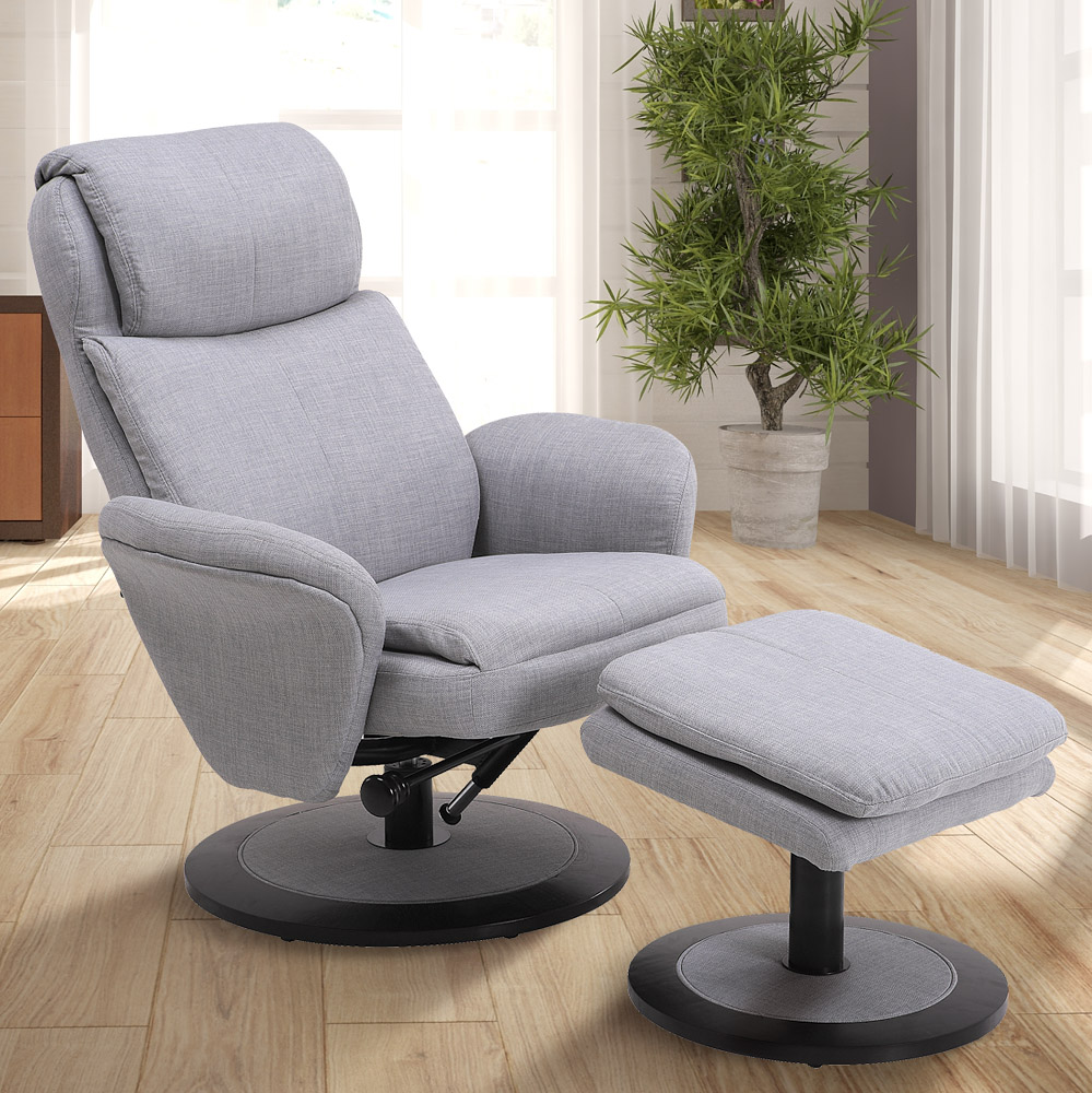 Mac Motion Chairs Denmark Recliner And Ottoman In Light Grey Fabric Comfort Chair