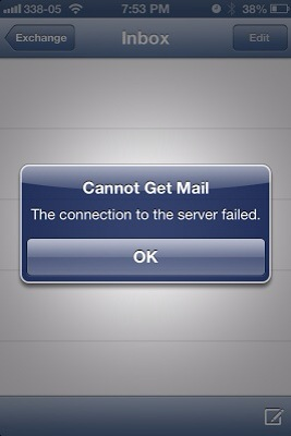"""iOS """"Cannot Get Mail. The connection to the server failed."""" 
