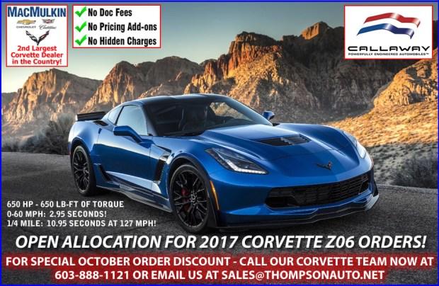 Open allocation for 2017 Corvette Z06 Orders!