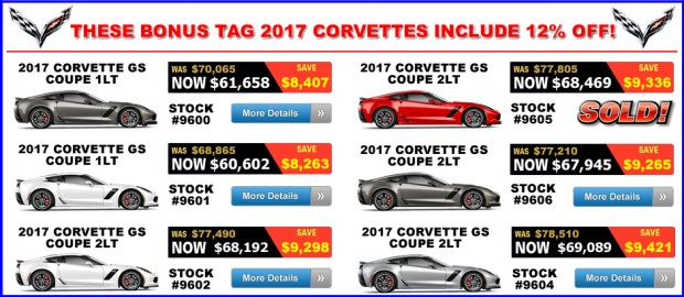 2017 Corvette Grand Sport Bonus Tag Sale