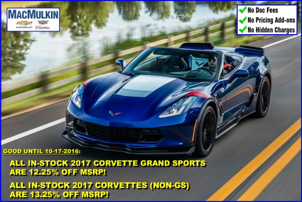 Fall Celebration Sale - 2017 Corvette Incentives!