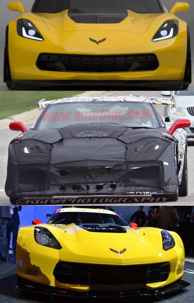 2015 Corvette Z06 on top, 2018 Corvette ZR1 Test Mule in the middle, Corvette Racing's C7.R on the bottom.