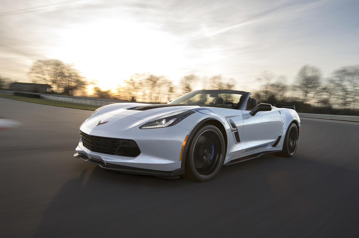Available on the Grand Sport 3LT trim, the Carbon 65 Edition celebrates 65 years of Corvette with a new Ceramic Matrix Gray paint color and visible carbon fiber exterior elements, including a carbon fiber hood and rear spoiler.