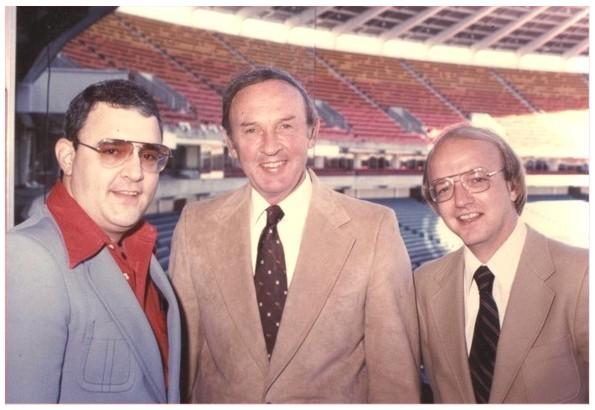 Skip Caray, Ernie Johnson and Pete Van Wieren