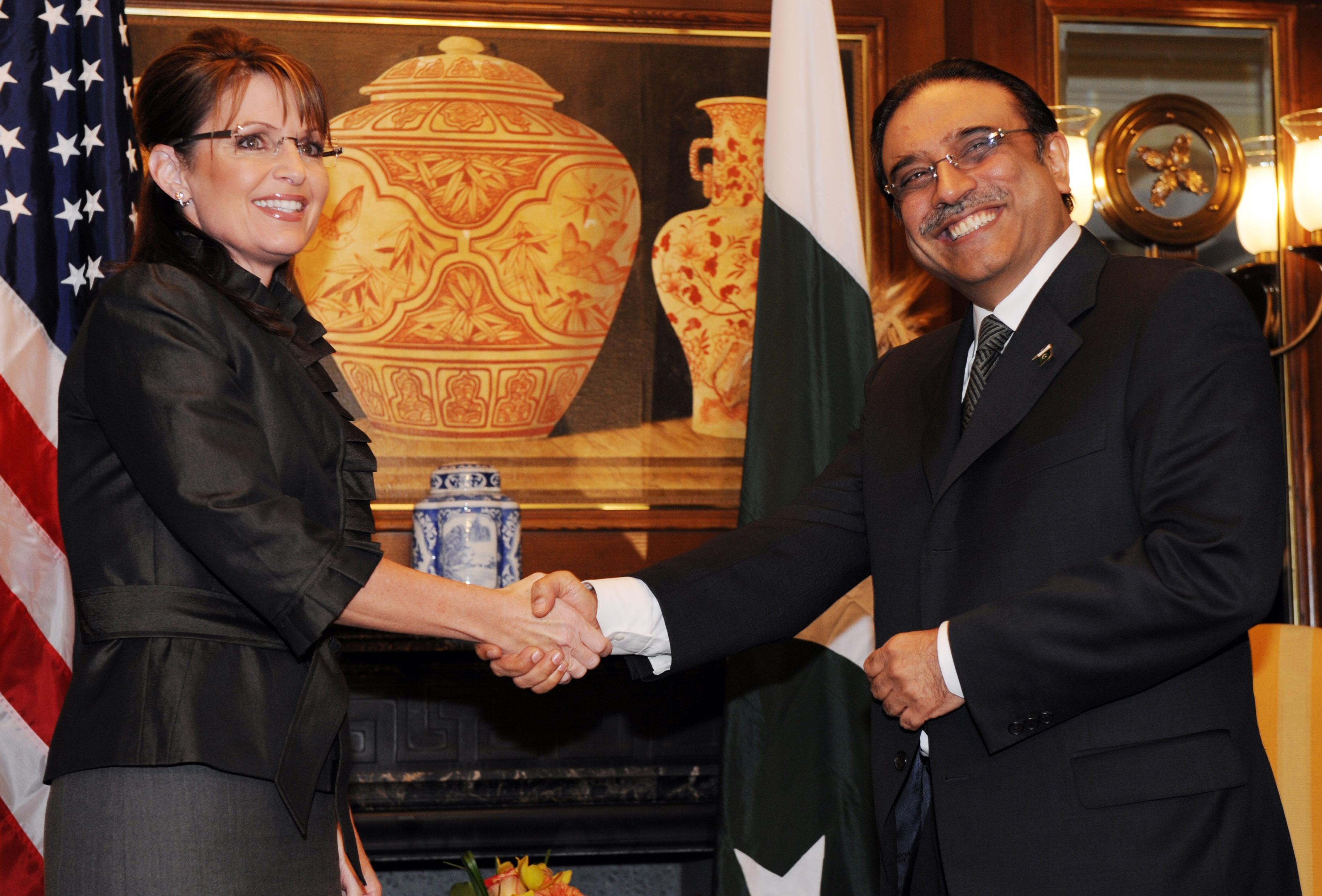 Alaska Gov. Sarah Palin meets Pakistan's President Asif Ali Zardari on Wednesday in New York.
