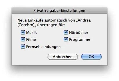 iTunes 9 - Privatfreigabe-Einstellungen