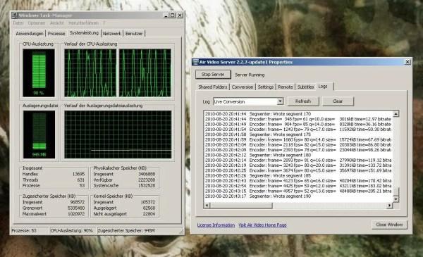 Air Video Systemauslastung - Screenshot Windows XP