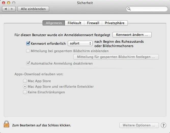 Sicherheitseinstellungen OS X Mavericks