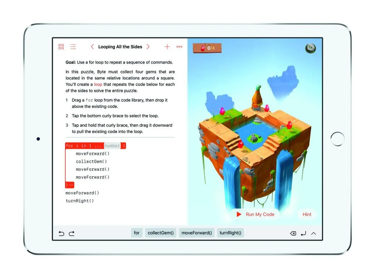 Swift Playgrounds Lssuing Commands (iPad Pro) - Apple
