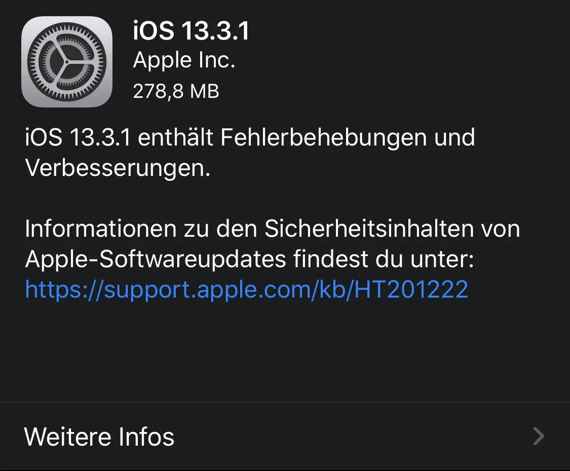 iOS 13.3.1 Update-Meldung