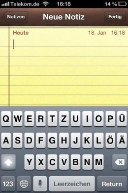 iPhone-Tastatur mit Umlauten