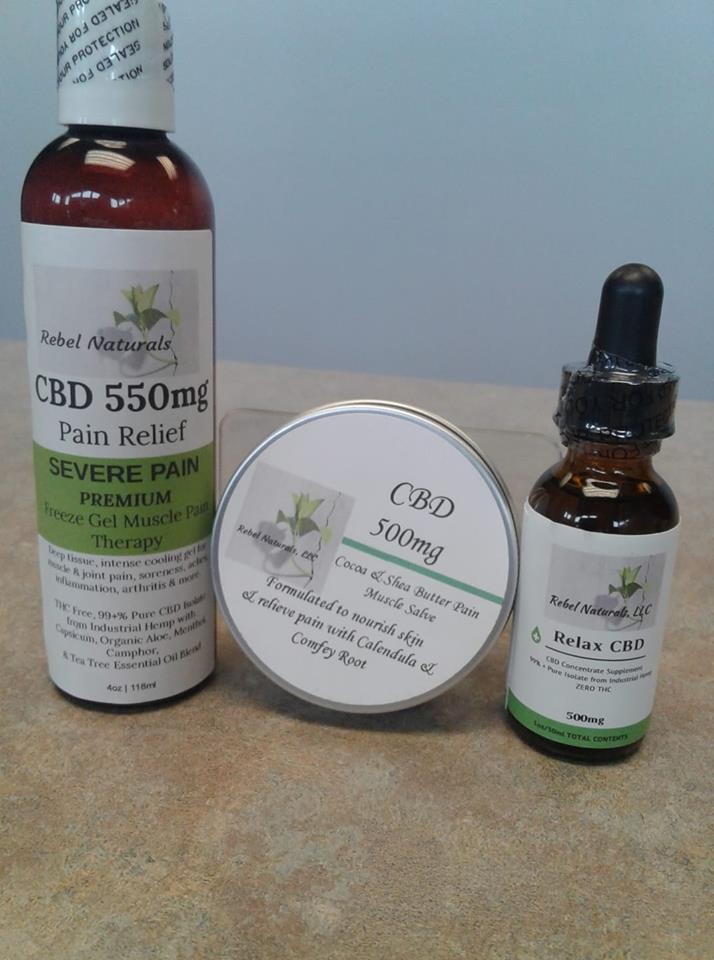 """We Stock """"Rebel Naturals"""" CBD; Muscle Salve, Freeze Gel, Massage Oil, and Concentrate """"Drops"""". CBD is known for being an all natural anti-inflammatory and promoting pain relief. Try it Today!"""