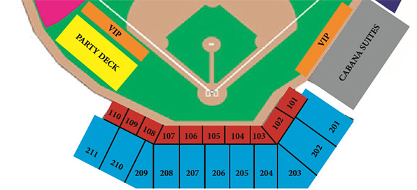 The blue seats are for our 10-game buyers. The seats have backs and arm rests, and plenty of leg room.