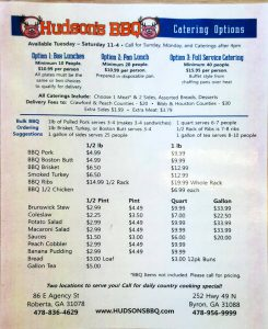 Hudsons Barbecue Menu Page 1