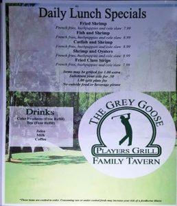 Grey Goose Lunch Menu