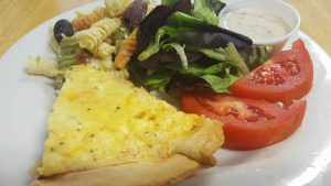 Three Cheese Quiche at Harpin's Restaurant.