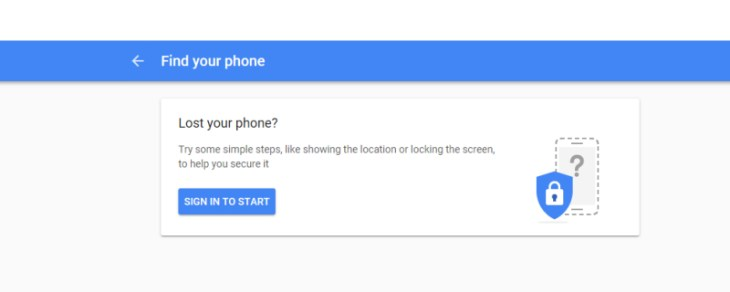 Google Find Your Phone - Sign In