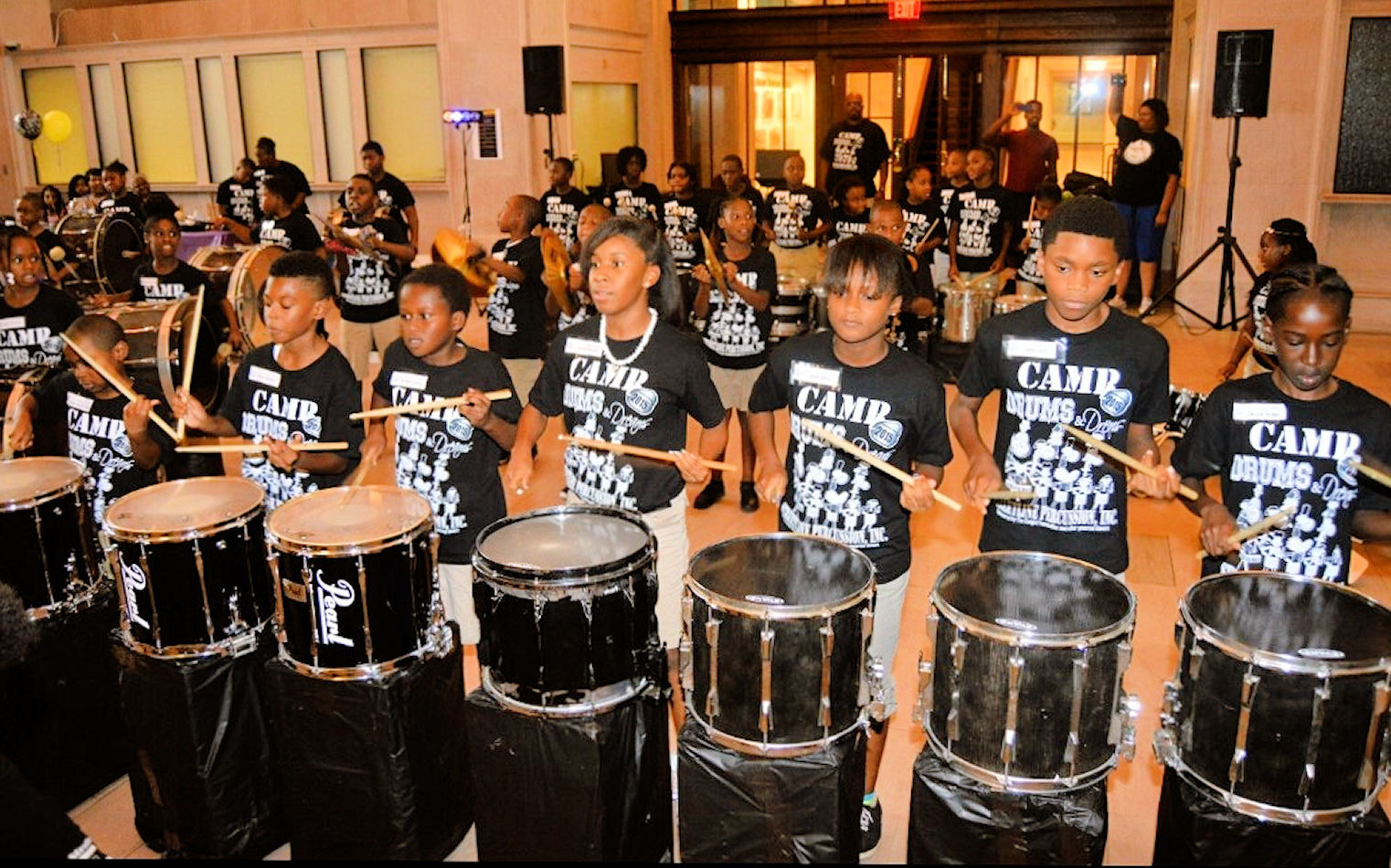 Participants in Camp Drums and Dreams performing at Macon's Terminal Station, Courtesy of Charlene Waller
