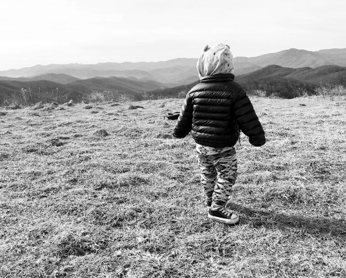 The author's son hiking