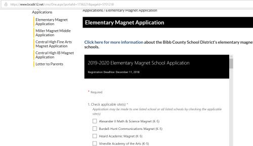 Bibb County magnet school application