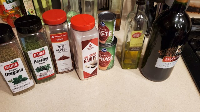Spices, tomato sauce and wine