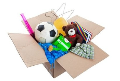 household items in a cardboard box