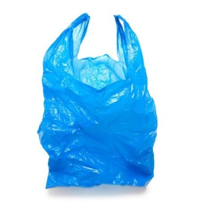 blue plastic shopping bag