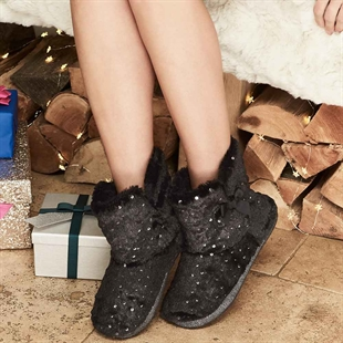 Sequin Faux Fur Slipper Boots