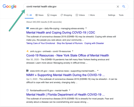Search Google for [keyword site:GOV]
