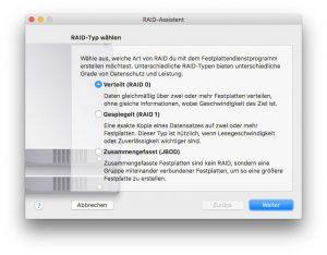 Mit macOS Sierra ist das Software-RAID zurück im Festplatten-Dienstprogramm
