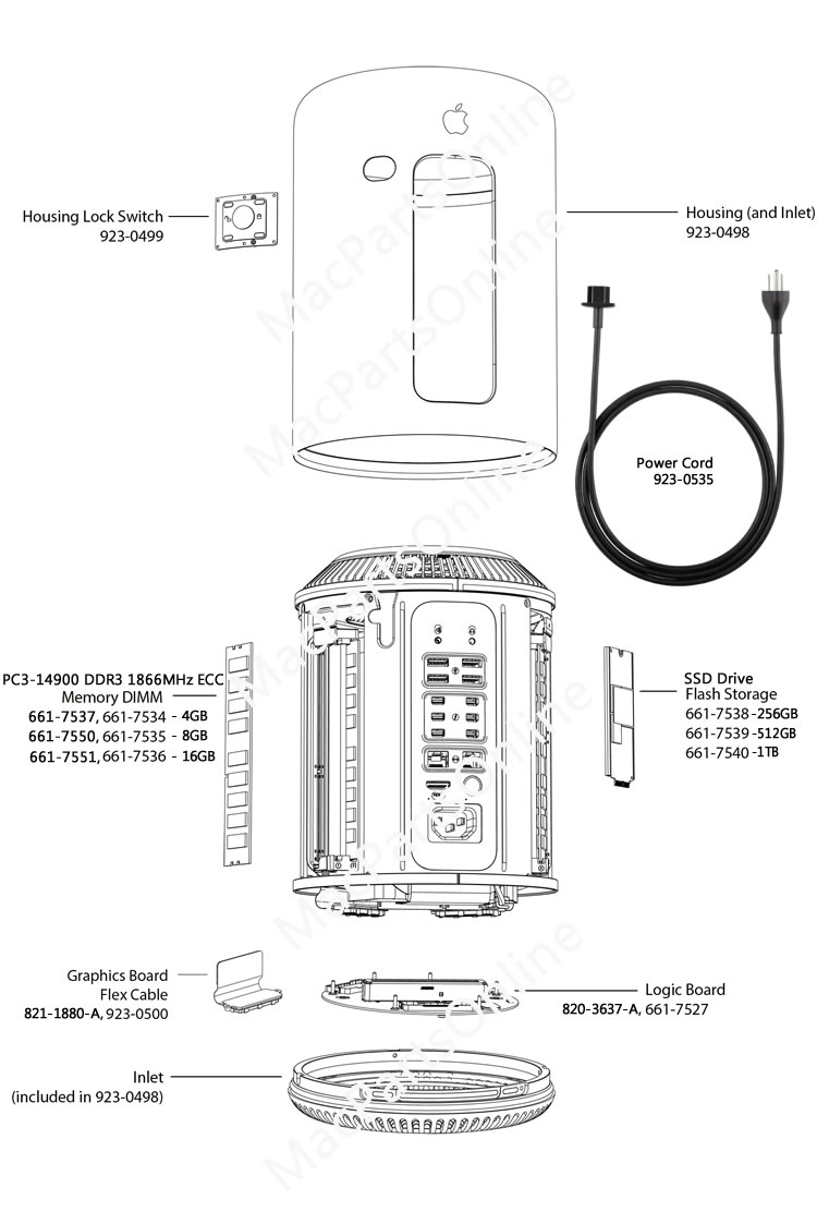 Mac Pro (Late 2013) A1481 Parts