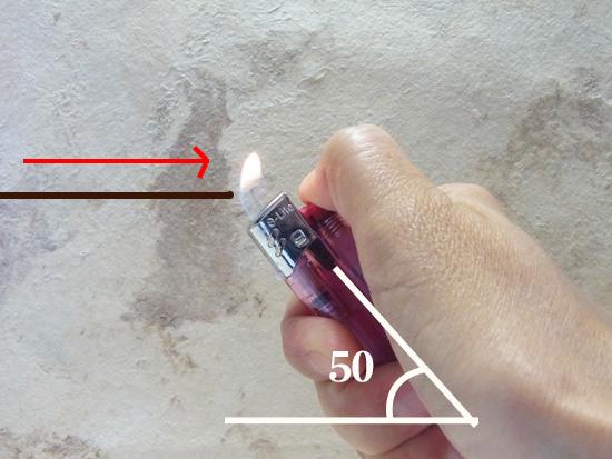 マクラメ基礎ライターと紐の角度