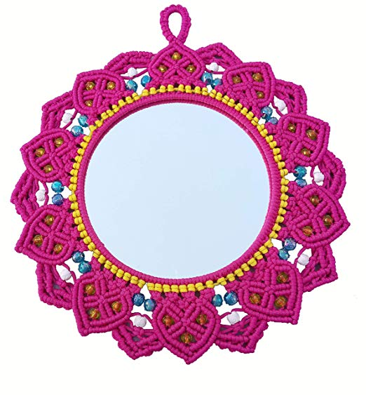 Macrame Mirror (Dark Pink) ( macrame mirror flower ) 2