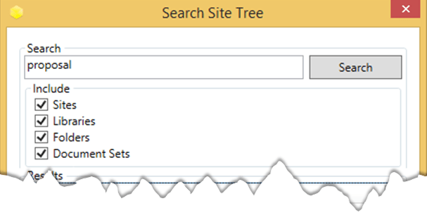 Search Site Tree top of dialog