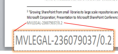 Document Reference displayed in the footer of a Word document as it was saved to SharePoint.