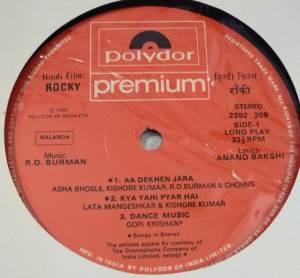 Rocky Hindi Film LP Vinyl Record by R D Burman www.macsendisk.com 2